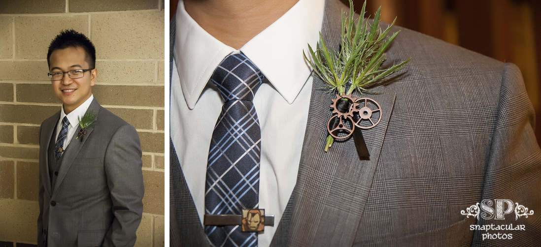 glen's steampunk boutonniere and iron man tie tack, christi and glen's wedding at prince of peace catholic community houston, prince of peace catholic community houston wedding photos, houston wedding photographer, downtown wedding photographer houston