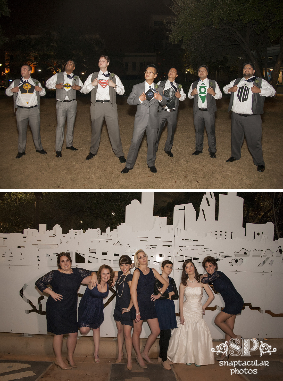 superhero tshirt groomsmen photo, bridesmaids movie photo, christi and glen's wedding at prince of peace catholic community houston, prince of peace catholic community houston wedding photos, houston wedding photographer, downtown wedding photographer houston
